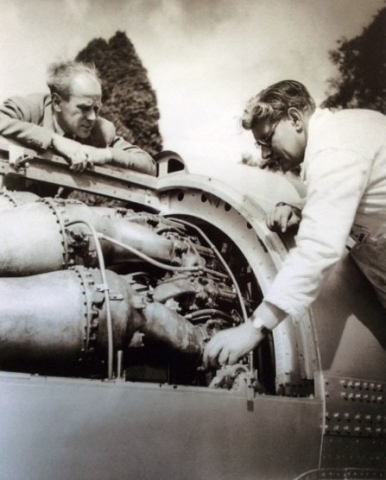 Lofty with Guy Bristow working on the engine